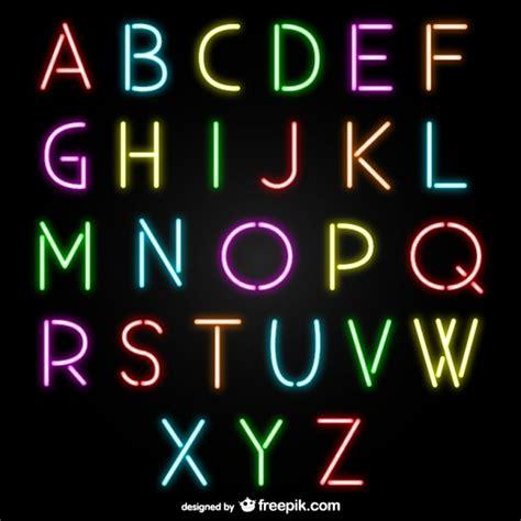 neon light letters font neon alphabet letters vector free download