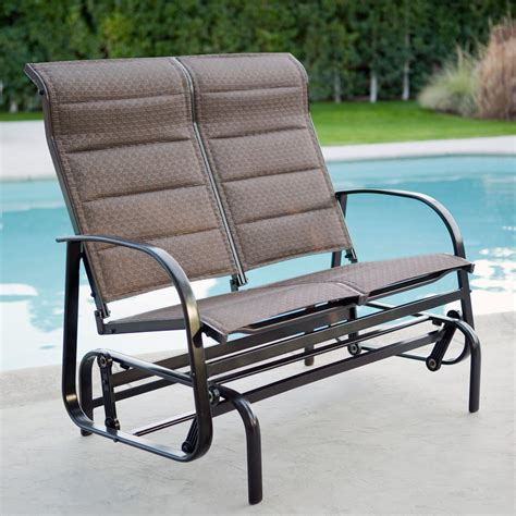 glider loveseat outdoor coral coast padded sling outdoor glider loveseat