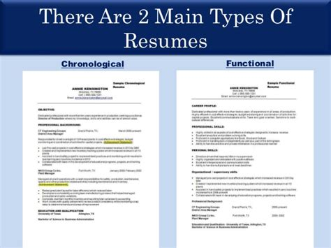 Chronological Resume Versus A Functional Resume by Types Of Resume Ppt Resume Ideas