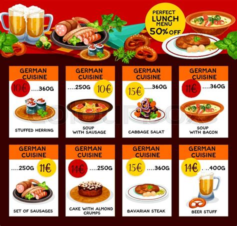german cuisine menu german cuisine menu or price cards for restaurant vector