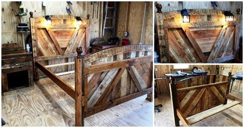 diy pallet bed frame  lighted headboard  night