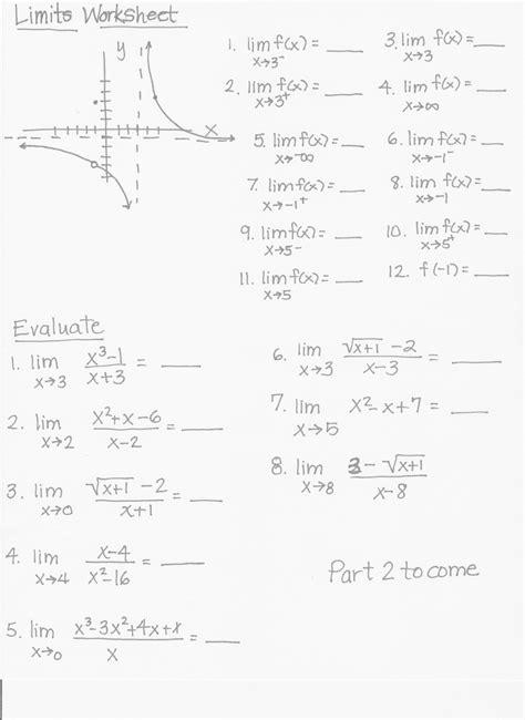 limits worksheet worksheet limits at infinity worksheet worksheet