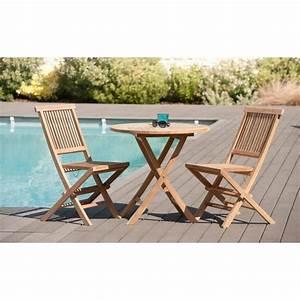 Table Ronde En Teck : salon de jardin en teck brut table ronde pliante 80cm 2 ~ Teatrodelosmanantiales.com Idées de Décoration