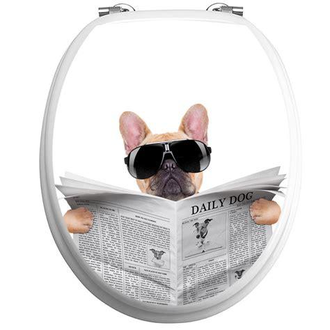 stickers muraux pour wc sticker abattant wc chien avec un journal et lunettes de soleil stickers toilettes abattants