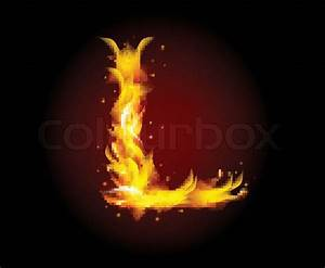Fire burning alphabet letter L | Stock Vector | Colourbox