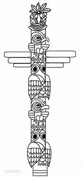 Totem Pole Coloring Pages Poles Faces Printable Native American Drawing Cool2bkids Templates Alaska Indian Template Totems Sketch Easy Animal Animals sketch template