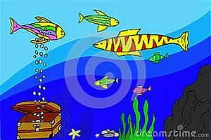 Fish Tank Background Hand Draw Sketch Various Fish At Aquarium Stock Vector