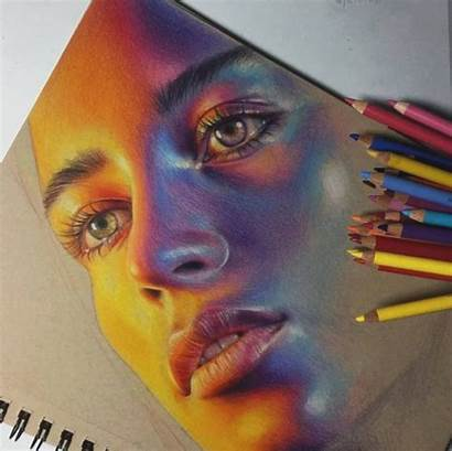 Pencil Yellow Eye Drawings Portraits Colored Drawing