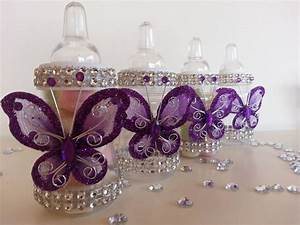 12 Purple Fillable Butterfly Bottles Baby Shower Favors