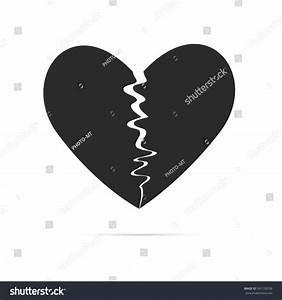Black Broken Heart Shape Vector Icon Stock Vector ...