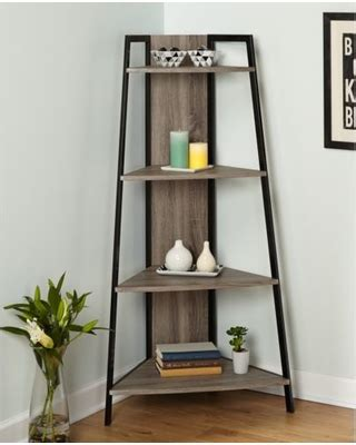 corner display shelf new year deal on rustic reclaimed wood metal
