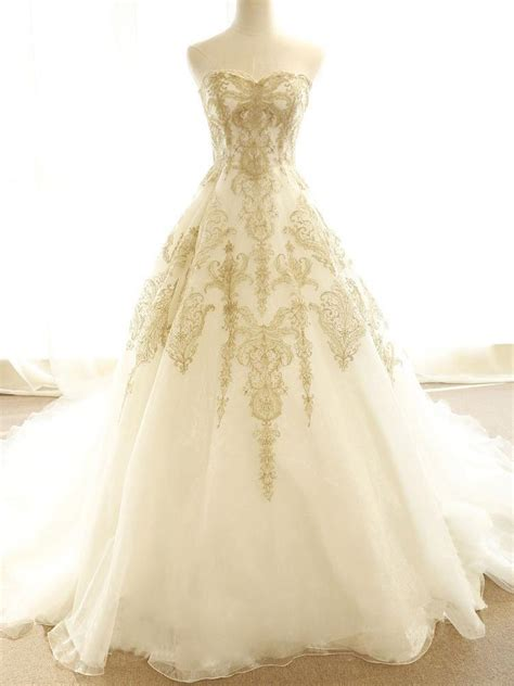 chic wedding dresses ivory gold appliques sweepbrush