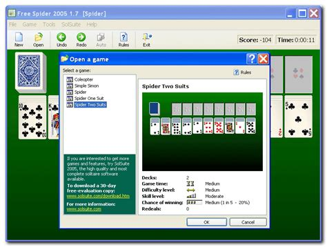 screenshot free spider 2005 solitaire collection