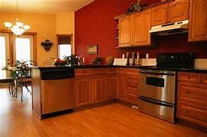 5 top wall colors for kitchens with oak cabinets hometalk With best brand of paint for kitchen cabinets with wall art red