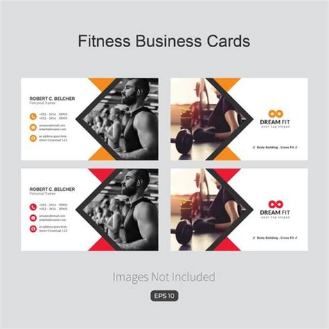 fitness business card template   vectors