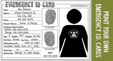 emergency id cards   emergency kit id