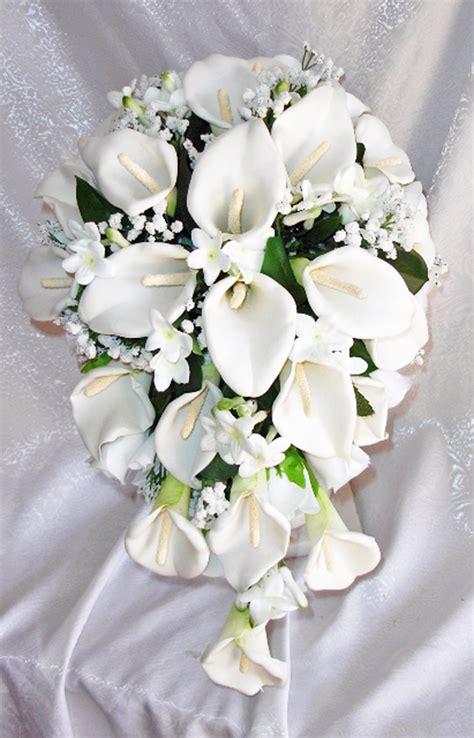 wedding bouquets calla lilies white calla lilies stephanotis cascade bridal bouquet 8498