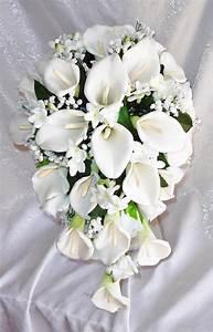 White CALLA LILY Lilies Stephanotis Cascade Bridal BOUQUET