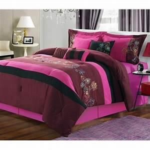 Nori, Purple, U0026, Hot, Pink, Queen, 8, Piece, Comforter, Bed, In, A