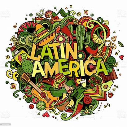 Latin America Cartoon Latina Doodle Drawn Illustrazione