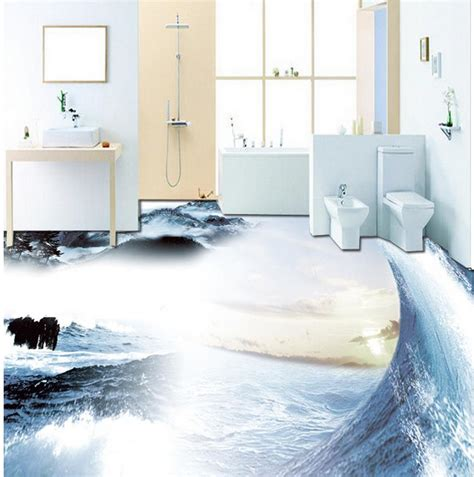 wallpaper  bathroom waterproof sea  floor pvc