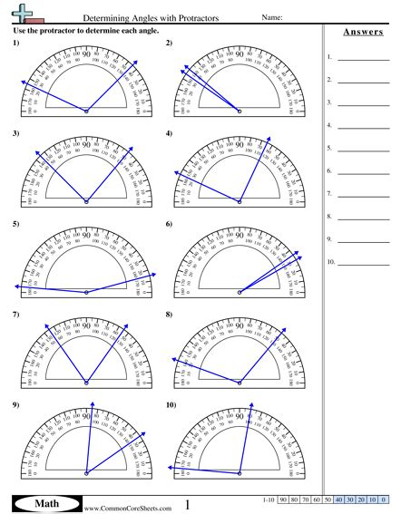 determining angles with protractors worksheet math