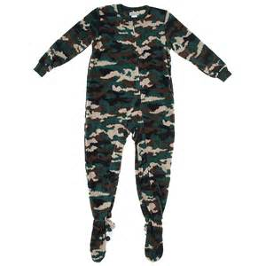 green camo footed pajamas for boys