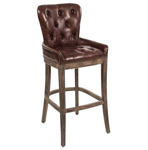 counter stools leather ridley rustic lodge tufted brown leather bar stool kathy 2678