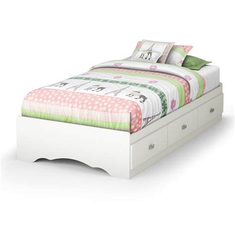 twin white platform bed frame   storage drawers