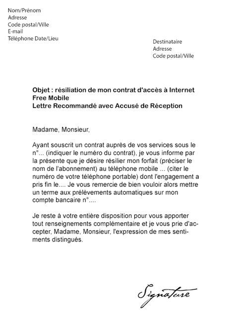 annulation commande cuisine lettre de résiliation free mobile modèle de lettre