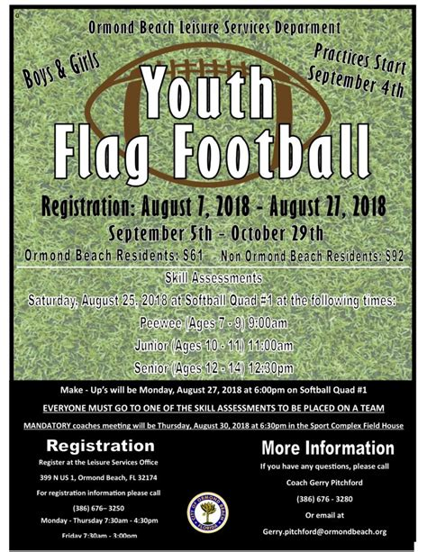 city ormond youth flag football league volusia mom