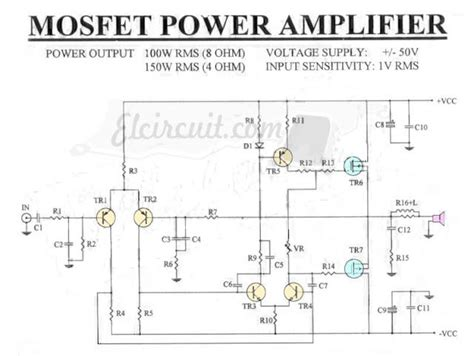 Mosfet Power Amplifier Rms Ohm Audio Schematic