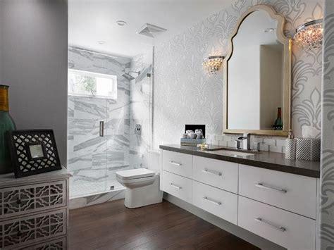 Gold bathroom mirror, gray bathroom cabinets white quartz