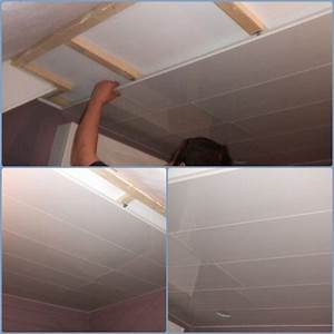 pose lambris pvc plafond tasseaux isolation idees With pose lambris pvc plafond salle de bain