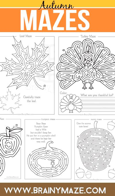 fall thanksgiving mazes brainy maze