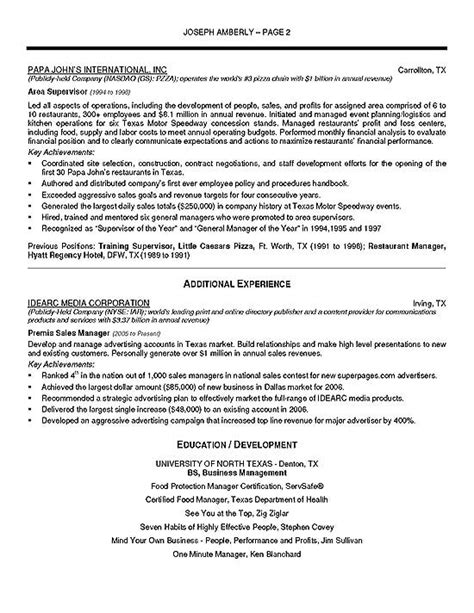 operations manager resume exle