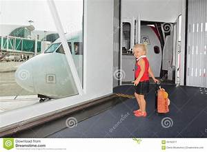 Baby Walks For Boarding To Flight In Airport Departure ...