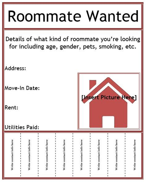 roommate wanted flyer template roommate wanted flyer