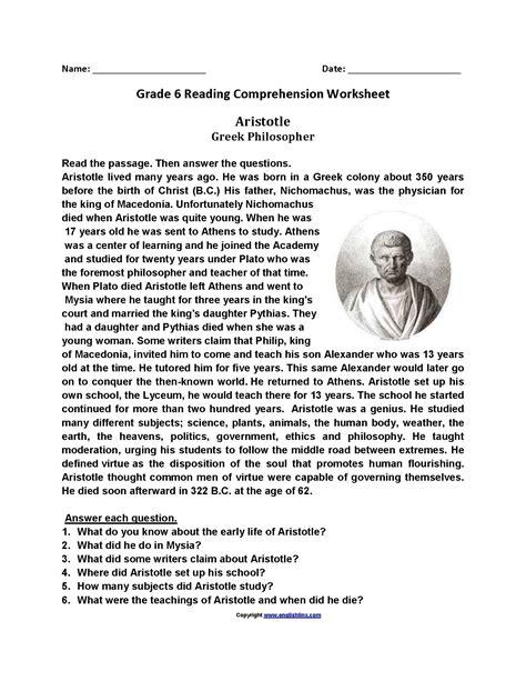 kindergarten english comprehension worksheets