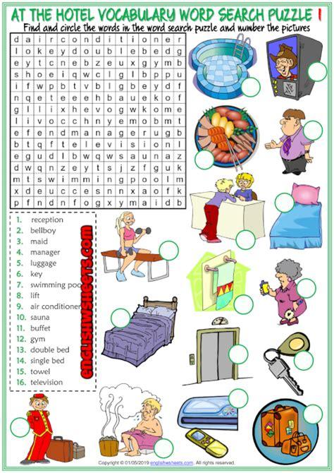 hotel vocabulary esl printable worksheets  images