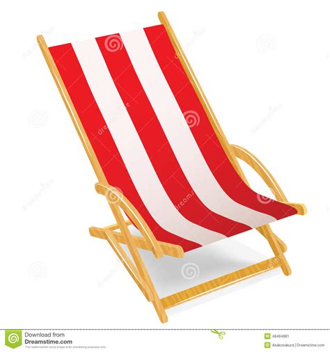 chaise plage wooden chaise longue isolated on white stock vector image 48484881
