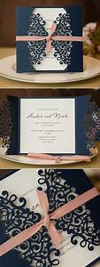 elegant navy blue and blush laser cut wedding invitations With how much are laser cut wedding invitations