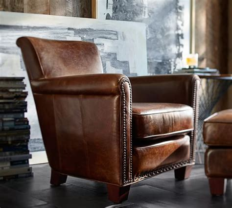 irving leather armchair with nailheads pottery barn