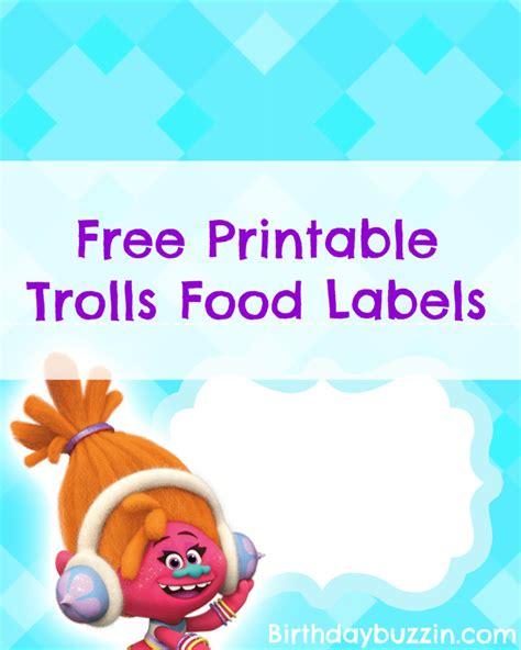 printable trolls food labels birthday buzzin