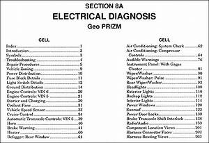 1991 Geo Prizm Electrical Diagnosis Manual Original