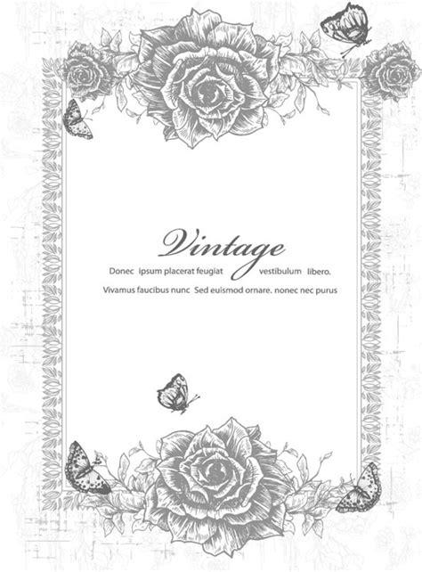 Vintage invitations with floral motifs vectors