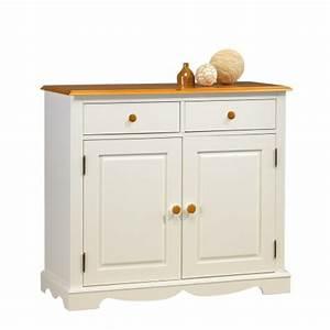 Buffet Bas Blanc : buffet 2 portes 2 tiroirs blanc et miel beaux meubles pas chers ~ Teatrodelosmanantiales.com Idées de Décoration