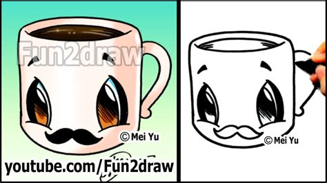 coffee cup  mustache easy cartoon drawing tutorial