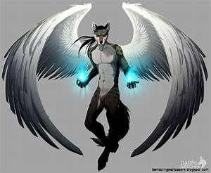 Blue Anime Wolf With Wings | Amazing Wallpapers