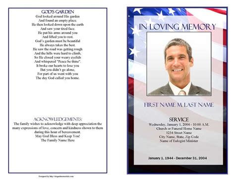 patriotic  funeral program template elegant memorials
